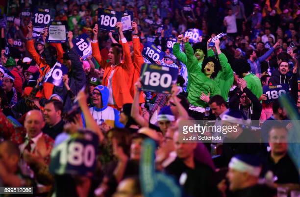 Fans in fancy dress during the 2018 William Hill PDC World Darts Championships on Day Thirteen at Alexandra Palace on December 29 2017 in London...