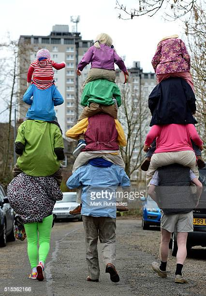 Fans in fancy dress on there way to the Stadium ahead of the Scottish League Cup Final between Hibernian FC and Ross County FC at Hampden Park on...