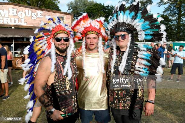 Fans in Native Idian headdress at RiZE Festival on August 17 2018 in Chelmsford United Kingdom