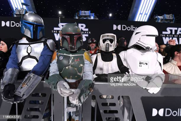 Fans in Star Wars costumes attend the world premiere of Disney's Star Wars Rise of Skywalker at the TCL Chinese Theatre in Hollywood California on...