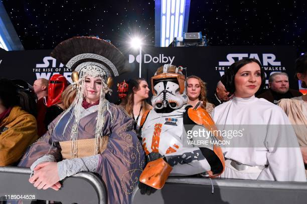TOPSHOT Fans in Star Wars costumes attend the world premiere of Disney's Star Wars Rise of Skywalker at the TCL Chinese Theatre in Hollywood...