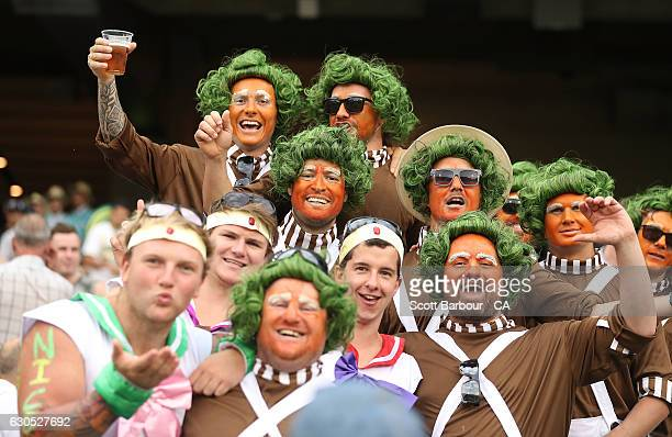 Fans in the crowd dressed as Oompa Loompa's show their support during day one of the Second Test match between Australia and Pakistan at Melbourne...