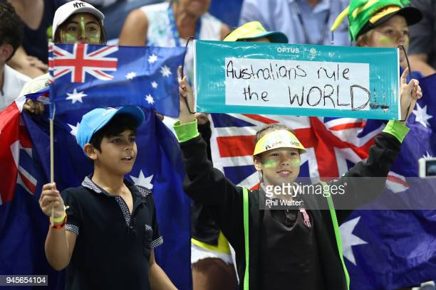 Fans in the crowd during Rugby Sevens on day nine of the Gold Coast 2018 Commonwealth Games at Robina Stadium on April 13 2018 on the Gold Coast...