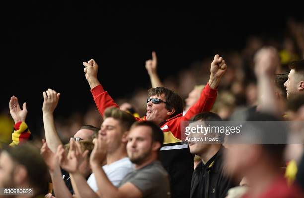 Fans In The Crowd during the Premier League match between Watford and Liverpool at Vicarage Road on August 12 2017 in Watford England