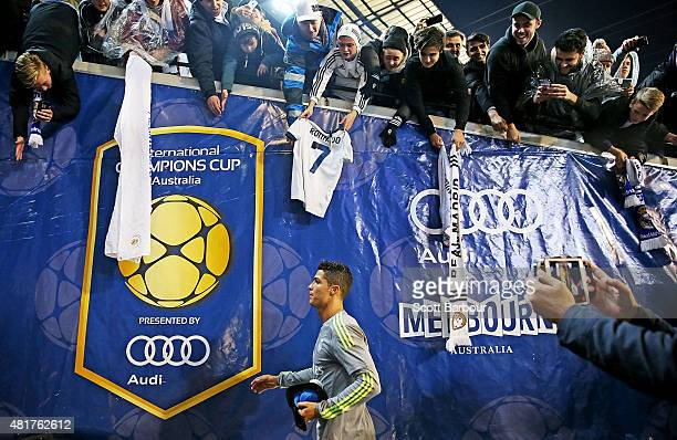Fans in the crowd look on as Cristiano Ronaldo of Real Madrid leaves the field during the International Champions Cup match between Real Madrid and...