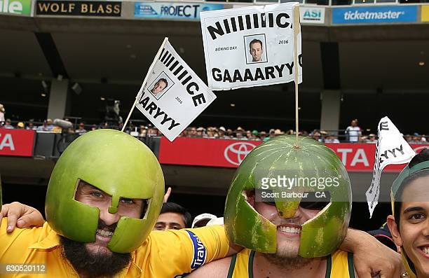 Fans in the crowd of Nathan Lyon of Australia show their support during day one of the Second Test match between Australia and Pakistan at Melbourne...