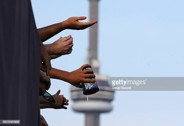 TORONTO ON AUGUST 20 Fans in the end zone discuss what is wrong with the Toronto Argonauts as they play the Edmonton Eskimos at BMO Field in Toronto...