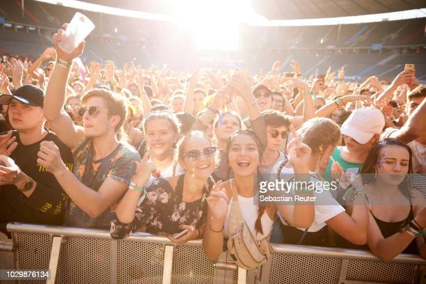 Fans in the front row during Lollapalooza Berlin 2018 at Olympiagelaende on September 9, 2018 in Berlin, Germany.