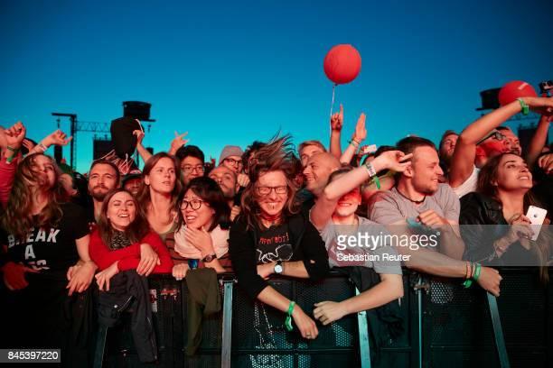 Fans in the front row during the Lollapalooza Berlin music festival on September 10, 2017 in Dahlwitz-Hoppegarten, Germany.