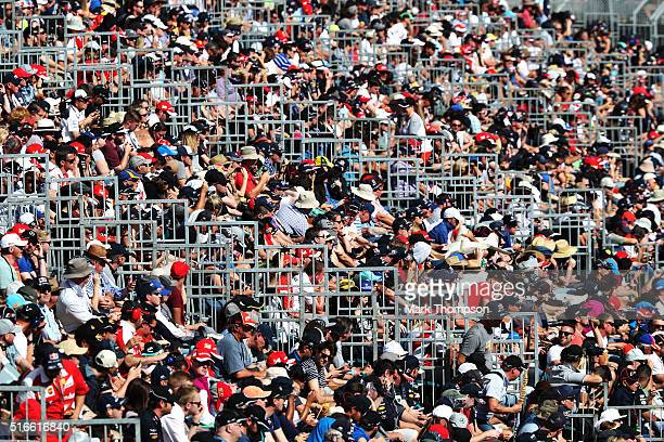 Fans in the grandstand during the Australian Formula One Grand Prix at Albert Park on March 20 2016 in Melbourne Australia