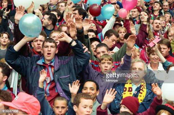 Fans in the Holte End stand in the final game before it was demolished Aston Villa 2 1 Liverpool premiership match 7th May 1994
