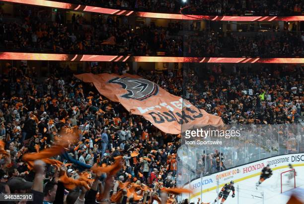 Fans in the Honda Center before the start of a Stanley Cup playoffs first round game 2 between the San Jose Sharks and the Anaheim Ducks played on...
