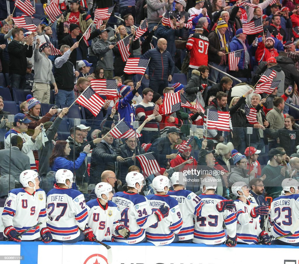 Fans in the Key Bank Center celebrate another team USA win during the final moments of the third period of play in the Quarterfinal IIHF World Junior Championship game at the KeyBank Center on January 2, 2018 in Buffalo, New York.