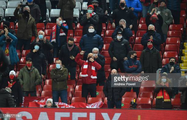 Fans in the kop during the Premier League match between Liverpool and Wolverhampton Wanderers at Anfield on December 06, 2020 in Liverpool, England....