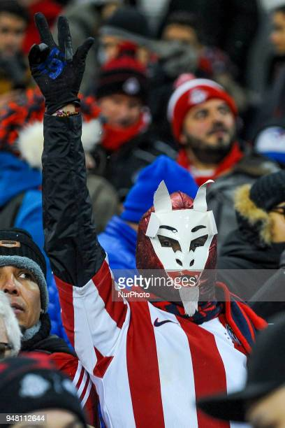 Fans in the mask during the 2018 CONCACAF Champions League Final match between Toronto FC and CD Chivas Guadalajara at BMO Field in Toronto Canada on...