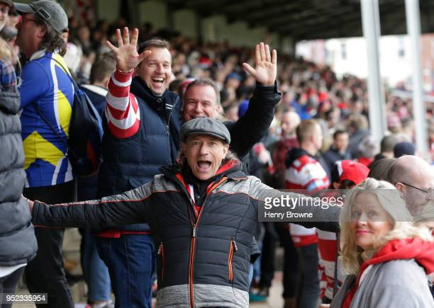 Fans in The Shed before the Aviva Premiership match between Gloucester Rugby and Bath Rugby at Kingsholm Stadium on April 28 2018 in Gloucester...