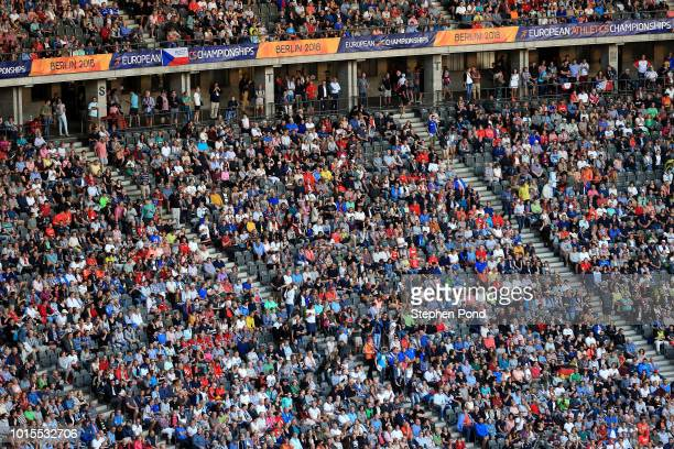 Fans in the stadium during day five of the 24th European Athletics Championships at Olympiastadion on August 11 2018 in Berlin Germany This event...
