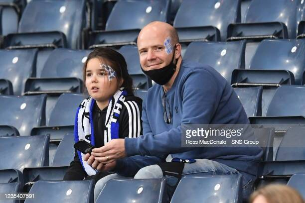 Fans in the stands ahead of kick off during a FIFA World Cup Qualifier between Scotland and Faroe Islands at Hampden Park on September 21 in Glasgow,...