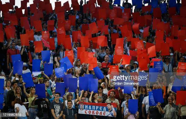 Fans in the stands before the Adria Tour Final match between Dominic Thiem of Austria and Filip Krajinovic of Serbia charity exhibition hosted by...