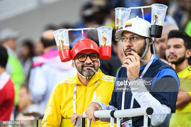Fans in the stands drinking beer during the 2018 FIFA World Cup Russia Round of 16 match between Colombia and England at Spartak Stadium on July 3...