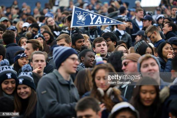 Fans in the student section cheer during a game between the Yale Bulldogs and the Harvard Crimson at the Yale Bowl on November 18, 2017 in New Haven,...