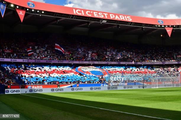 PSG fans in the Tribune Auteuil during the Ligue 1 match between Paris Saint Germain and Amiens SC at Parc des Princes on August 5 2017 in Paris...