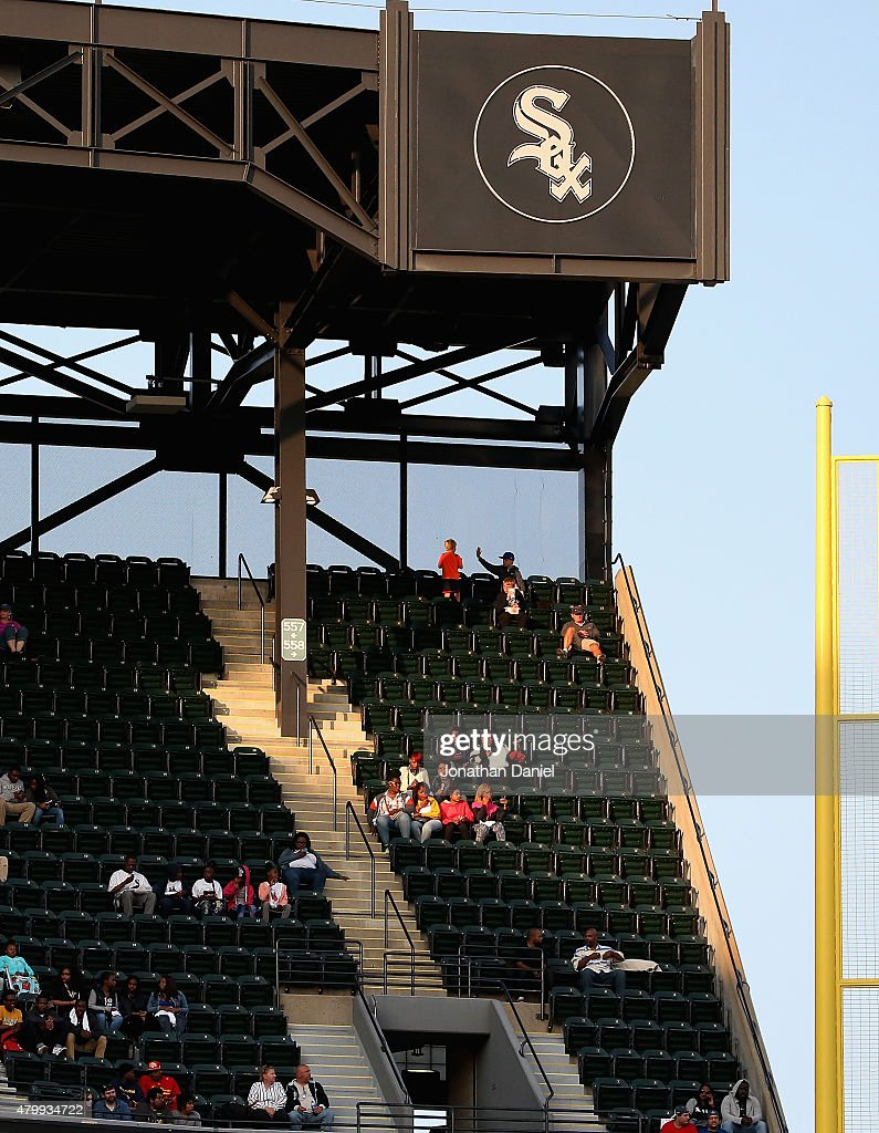 Fans in the upper deck watch as the Chicago White Sox take on the Toronto Blue Jays at U.S. Cellular Field on July 7, 2015 in Chicago, Illinois. The Blue Jays defeated the White Sox 2-1.