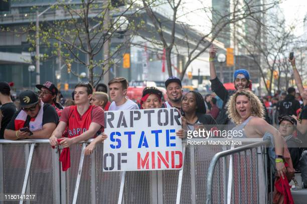 Fans in Zone One outside the Scotiabank Arena. They have a sign reading 'Raptors State of Mind' . NBA playoffs fever in the Canadian city. It is the...