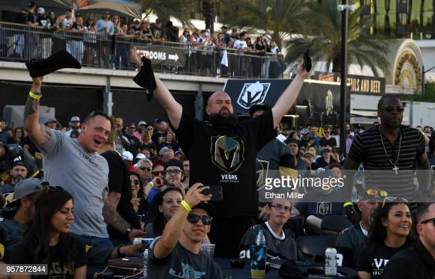 Fans including Andy Mensch of Nevada react during a Vegas Golden Knights road game watch party at the Downtown Las Vegas Events Center during Game...