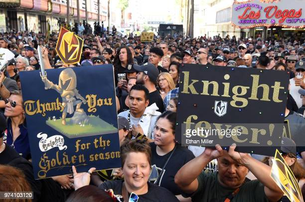 Fans including Jeannette Hall of Nevada attend the Vegas Golden Knights' 'Stick Salute to Vegas and Our Fans' event at the Fremont Street Experience...