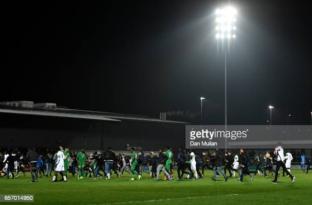 Fans invade the pitch at full time during the International Friendly match between Nigeria and Senegal at The Hive on March 23 2017 in Barnet England