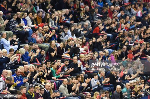 Fans is pictured during the Muller Indoor Grand Prix, at the Emirates Arena, on February 15 in Glasgow, Scotland.