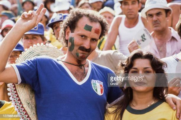 Fans Italy during the second stage of the 1982 FIFA World Cup match between Italy and Brazil, at Sarria Stadium, Barcelona, Spain on 5 July 1982