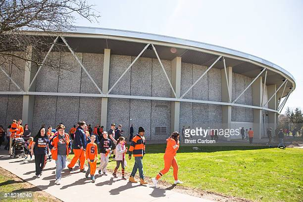 Fans leave a pep rally celebrating the men's and women's Final Four basketball teams on March 30, 2016 at Manley Field House in Syracuse, New York.
