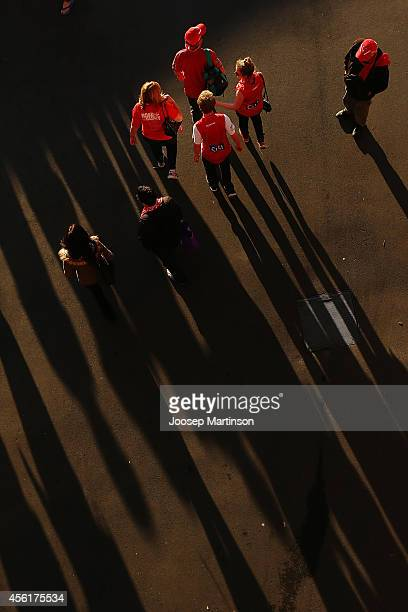 Fans leave after watching the 2014 AFL Grand Final at the MCG from the Sydney Swans Live Site at Sydney Cricket Ground on September 27 2014 in Sydney...
