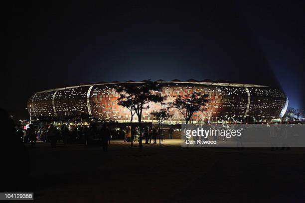 Fans leave the Soccer City stadium after the 2010 World Cup group A first round football match between Mexico and South Africa which ended as a 1-1...