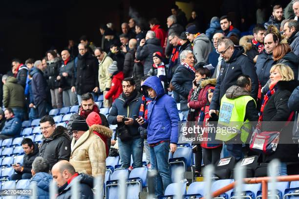 Fans leave the stadium before the serie A match between Genoa CFC and Cagliari Calcio at Stadio Luigi Ferraris on March 4 2018 in Genoa Italy