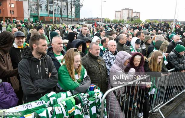 Fans leave tributes near the Billy McNeill statue before the Ladbrokes Scottish Premiership match at Celtic Park Glasgow