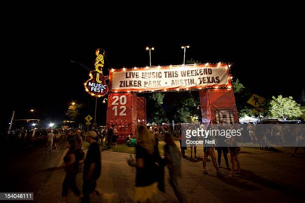 Fans leave Zilker Park after day 1 of the of 2012 Austin City Limits Music Festival on October 12 2012 in Austin Texas