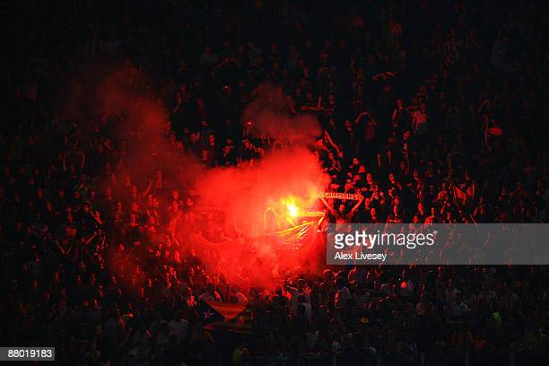 Fans light flares during the UEFA Champions League Final match between Barcelona and Manchester United at the Stadio Olimpico on May 27 2009 in Rome...