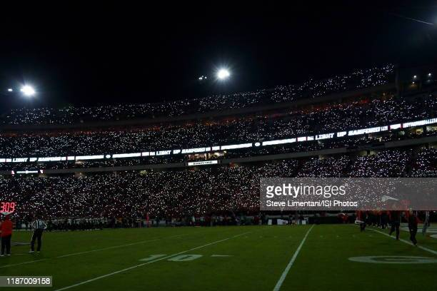 Fans light the stadium with the light from smartphones during a game between Missouri Tigers and Georgia Bulldogs at Sanford Stadium on November 09,...