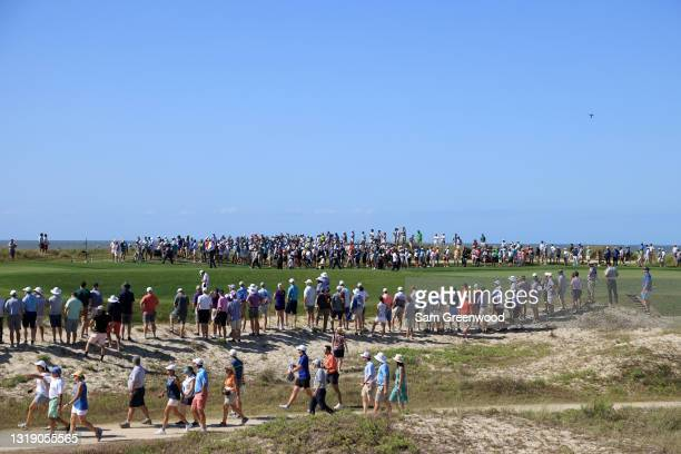 Fans line the 12th fairway during the first round of the 2021 PGA Championship at Kiawah Island Resort's Ocean Course on May 20, 2021 in Kiawah...