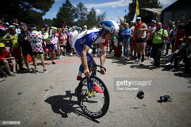 Fans line the road leading up to Mony Vonteaux during stage twelve, a 178km stage from Monpellier to Chalet-Reynard near the Mont Ventoux on July 14,...
