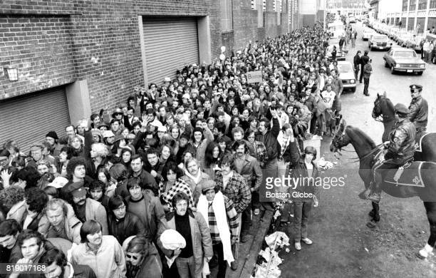 Fans line up along Landsdowne Street in Boston waiting to purchase tickets to the Red Sox World Series games on Oct 9 1975
