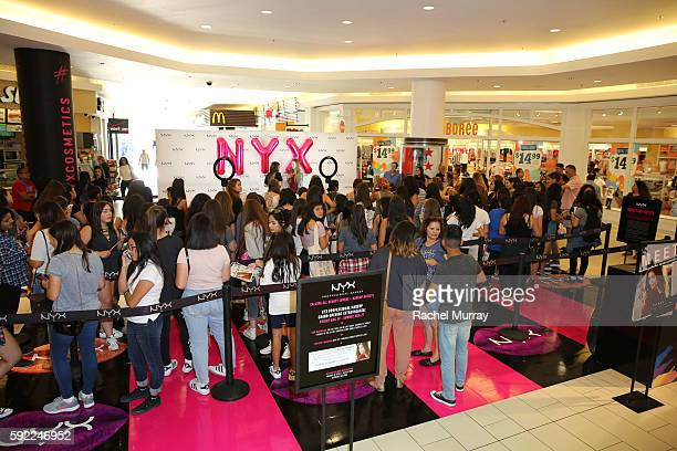 Fans line up and await the NYX Professional Makeup Store Glendale Galleria Influencer Meet Greet with Adelaine Morin @adelainemorin at Glendale...