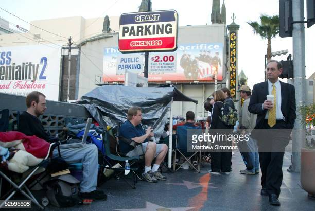 Fans line up at Grauman's Chinese Theatre for a chance to see the last episode in the Star Wars Saga on Hollywood Boulevard on April 5, 2005 in...