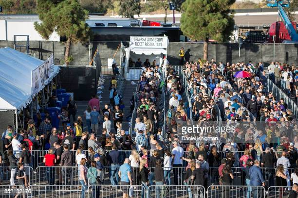 Fans line up for general admission on the final night of U2 The Joshua Tree Tour 2017 at SDCCU Stadium on September 22 2017 in San Diego California