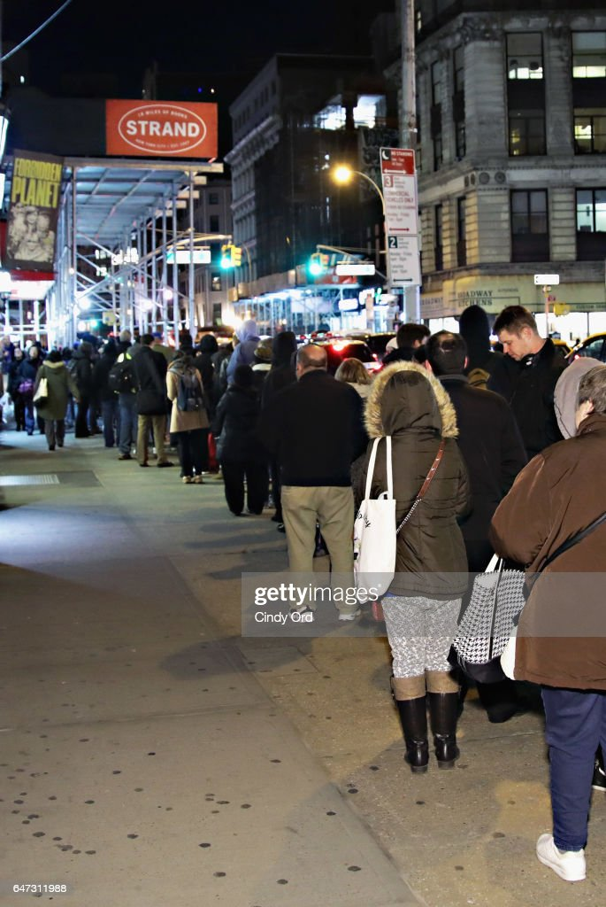 Fans line up outside as actor William Daniels signs copies of 'There I Go Again: How I Came To Be Mr. Feeny, John Adams, Dr. Craig, KITT and Many Others' at Strand Bookstore on March 2, 2017 in New York City.