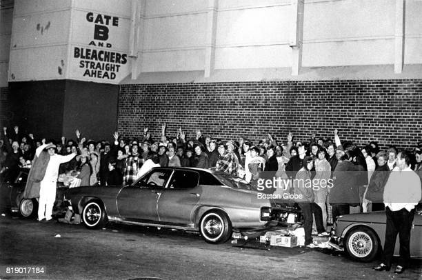 Fans line up outside Fenway Park in Boston through the night waiting to purchase Red Sox World Series tickets on Oct 8 1975