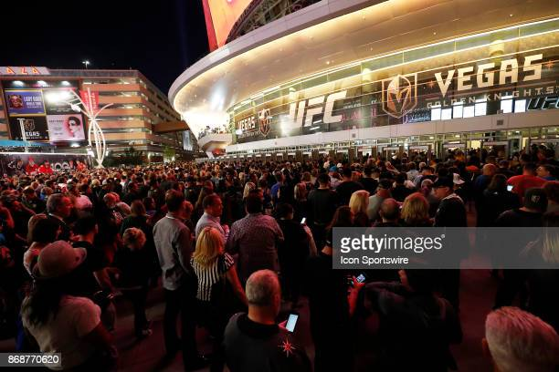 Fans line up outside the ticket gates prior to the firstever home game of the Vegas Golden Knights versus the Arizona Coyotes on October 10 2017 at...